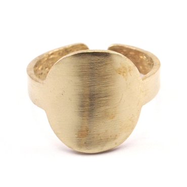 Raw Brass Adjustable Ring  / Circle