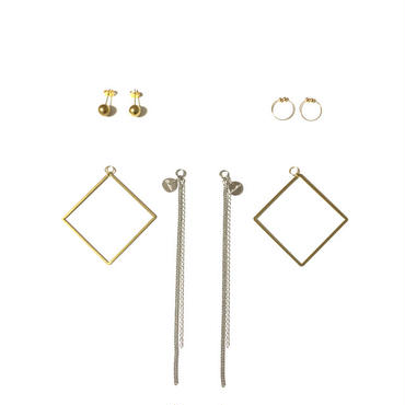 Geometric SQUARE EarJacket Dress Up Parts SET