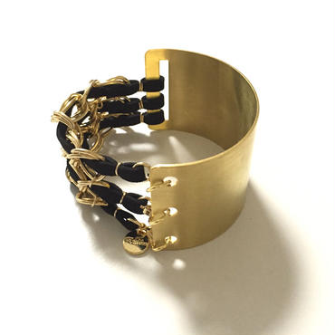 Cord & Chain HalfBrass Bangle/Black