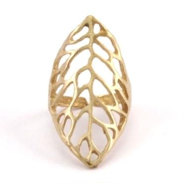 RawBrass Adjustable Leaf Ring / No,1
