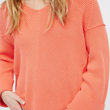 Over Size V neck Sweater / Coral