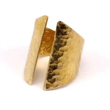 Raw Brass Adjustable Ring / Hammered Gothic