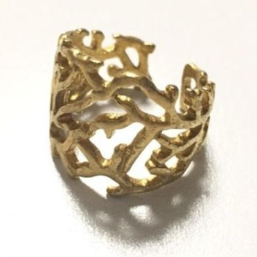 Raw Brass Adjustable Ring  / Coral