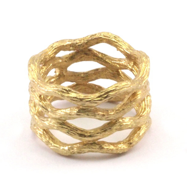 Raw Brass Adjustable Ring  / Branch