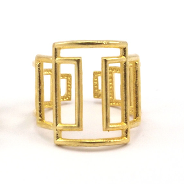 Raw Brass Adjustable Ring / Square Continuous