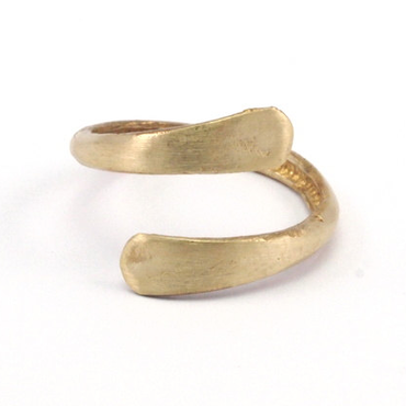 Raw Brass Adjustable Ring / 2LINE