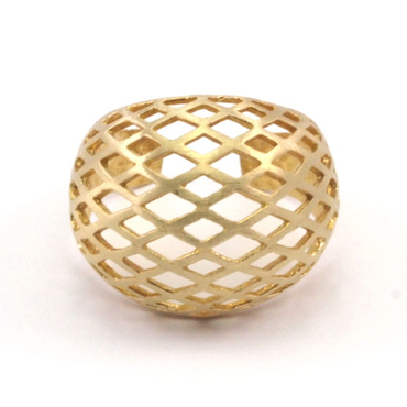 Raw Brass Adjustable Ring / Mesh No,4