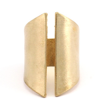 Raw Brass Adjustable Ring / Gothic