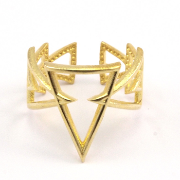 Raw Brass Adjustable Ring / Triangle Continuous