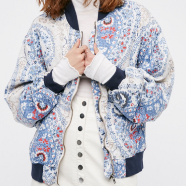 Flower Bomber Jacket / Navy