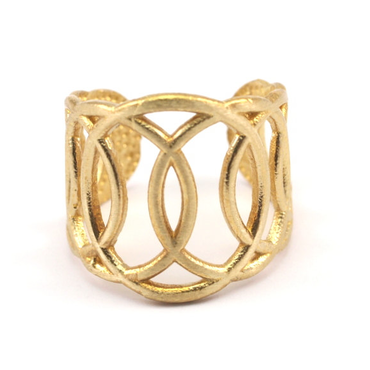 Raw Brass Adjustable Ring / Circle Continuous