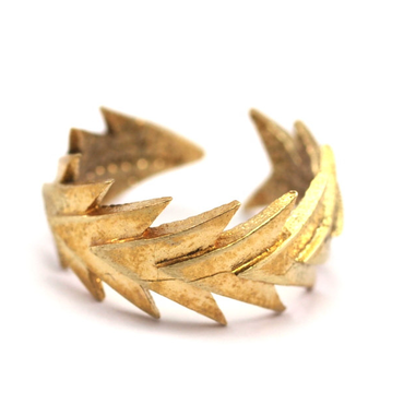 Raw Brass Adjustable Ring / Triangle Leaf