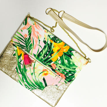 Tropical Flower&Leaf Chain Clutch/Ivory