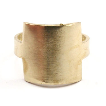 Raw Brass Adjustable Ring  / Square