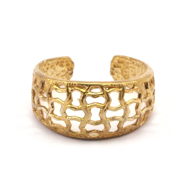 Raw Brass Adjustable Ring / Mesh No,3