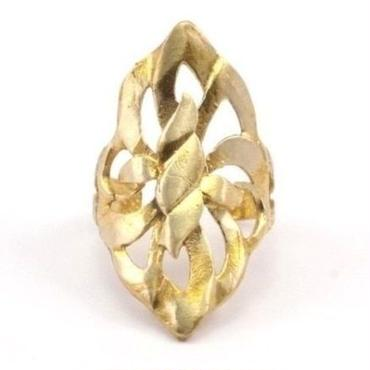 RawBrass Adjustable Leaf Ring  / No,2