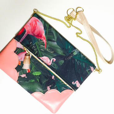 Tropical  Flamingo  Chain Clutch