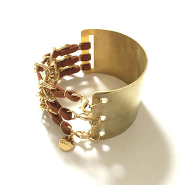 Cord & Chain HalfBrass Bangle/Brown