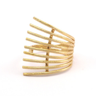 Raw Brass Adjustable Ring  / Railed