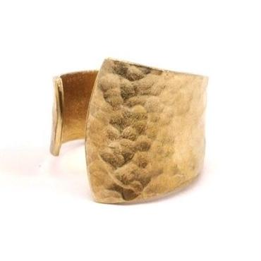 Raw Brass Adjustable Ring / Hammered Asymmetry