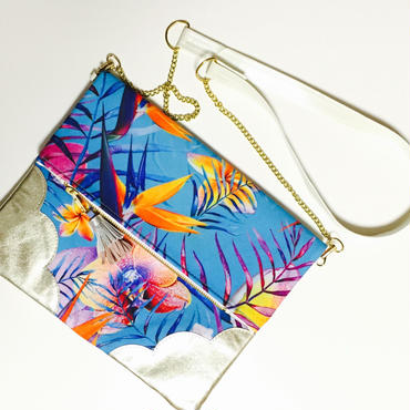 Tropical Flower&Leaf Chain Clutch/Blue ×Silver