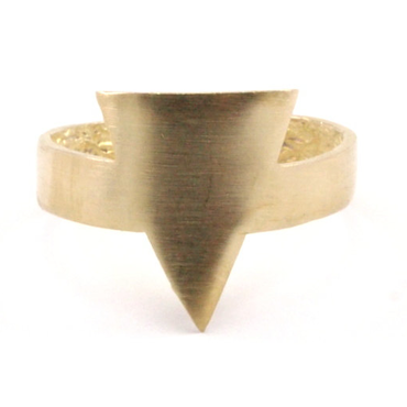 Raw Brass Adjustable Ring  / Triangle