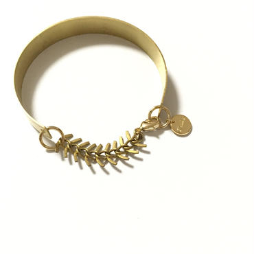 Simple FishBone chain Bangle : Gold