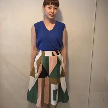 cotton柄フレアスカート