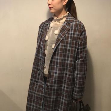 チェックシャツコート/BROWN