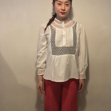 かぎ編みレースブラウス/WHITE