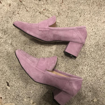 suedeヒールローファー/lavender38