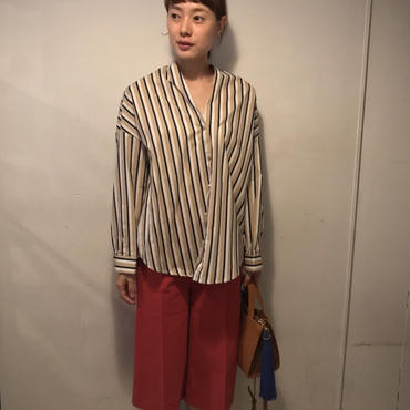 ノーカラーstripeシャツ/beige