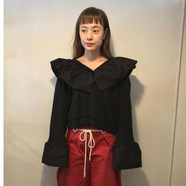 frillシャツスウェット/BLACK