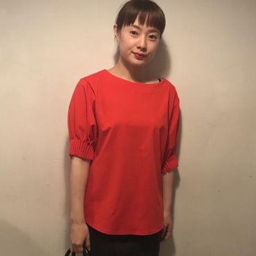 ギャザーsleeve tops/red