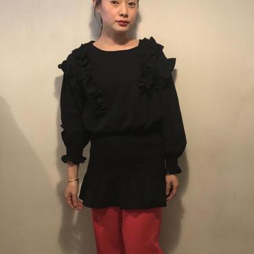 frillロングシャツTOPS/BLACK