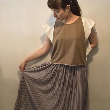 metallicプリーツスカート/silver