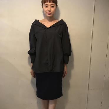 widecollarプルオーバーシャツ/BLACK