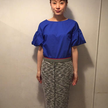 Raglanパイルlongスカート/gray