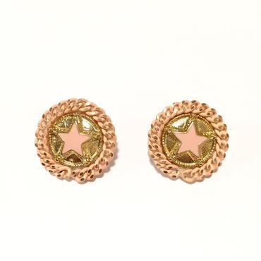 antiqueボタン風星pierced /pink