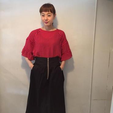 RaglanFrontZIPスカート/black