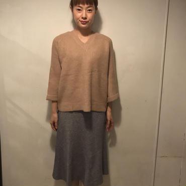 flareニットスカート/GRAY