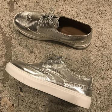 ハイソールmetallicウィングチップSHOES/silver25,0㎝