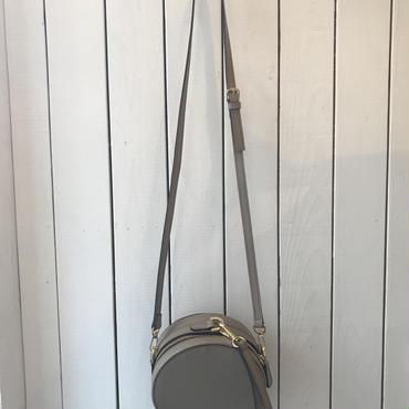丸型レザーショルダーバッグ/GREY
