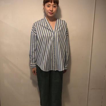 ノーカラーstripeシャツ/sax