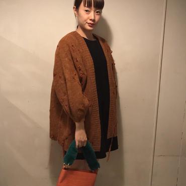 ベロアりぼん編み込みcardigan/camel