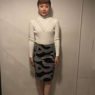 りぼん柄タイトスカート/BLACK×WHITE