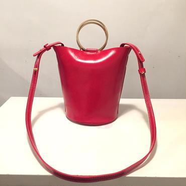 牛革丸buckleバックh/red
