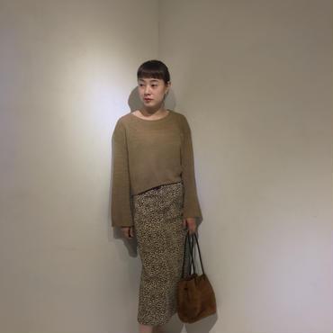 ヒョウ柄キャンバススカート/BEIGE