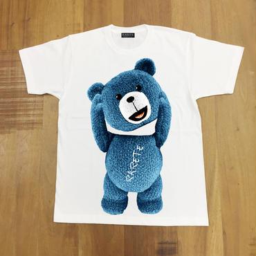 RARETE (ラルテ)    テディベア 首とれた!  Tシャツ ホワイト   星柄 star  (ブルー)