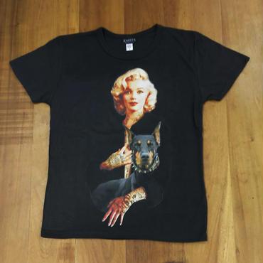 RARETE (ラルテ)  マリリンモンロー  ドーベルマン  タトゥー Tシャツ ブラック  星柄 star